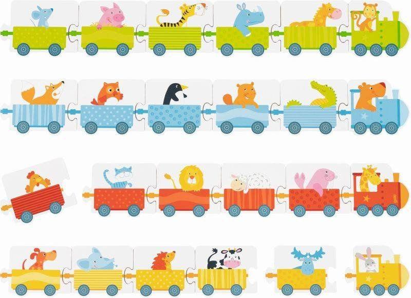 Gra z kostką puzzle Pociąg 56759-Goki, zabawki dla najmłodszych