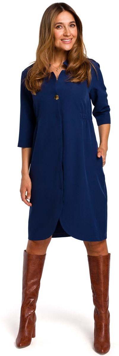 Granatowa elegancka sukienka żakietowa z pagonami