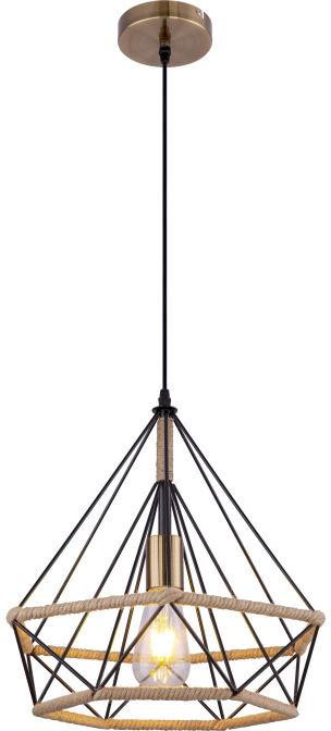 Globo ULLEU 69029 lampa wisząca czarna brązowa 1xE27 38cm