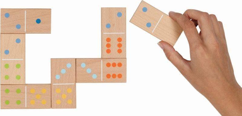 Duże klasyczne domino z drewna XXL w bawełnianej torbie 56758-Goki, gry dla dzieci