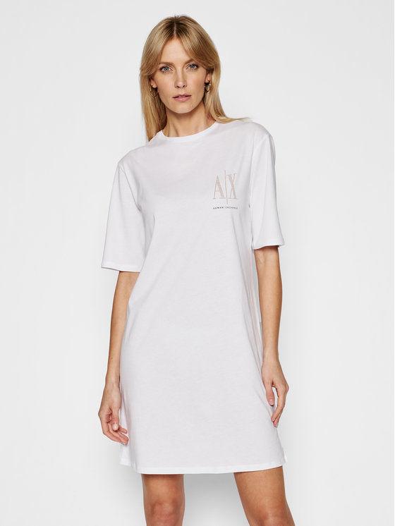 Armani Exchange Sukienka codzienna 8NYADX YJG3Z 9130 Biały Regular Fit