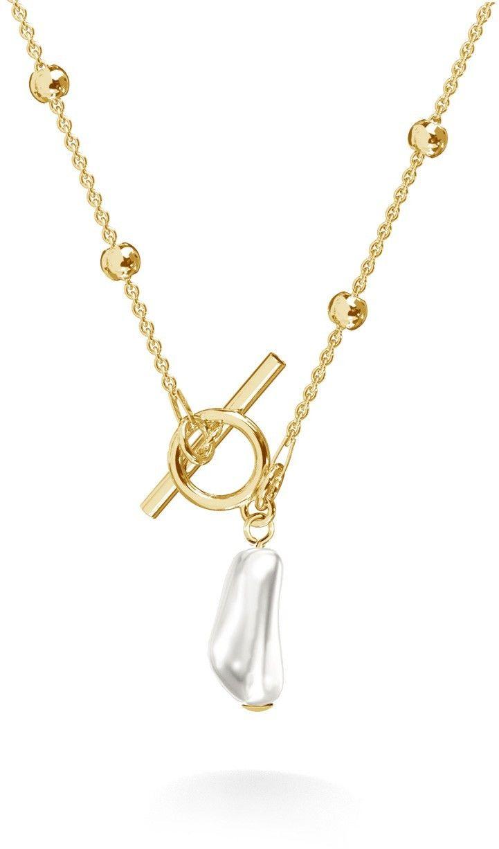 Srebrny kulkowy choker z podłużną perłą, srebro 925 : Srebro - kolor pokrycia - Pokrycie żółtym 18K złotem