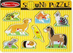 Melissa & Doug Puzzle dźwiękowe dla zwierząt domowych puzzle drewno 2+ prezent dla chłopców lub dziewcząt