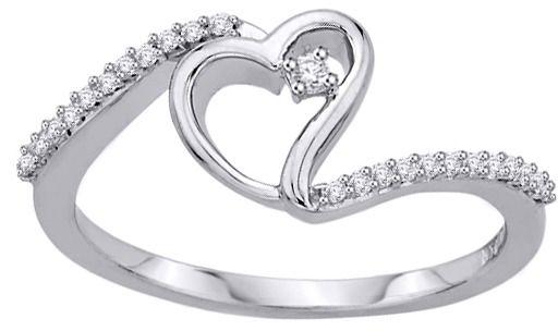 Staviori pierścionek. 25 diamentów, szlif brylantowy, masa 0,12 ct., barwa h, czystość si2. białe złoto 0,585. szerokość 7,5 mm.