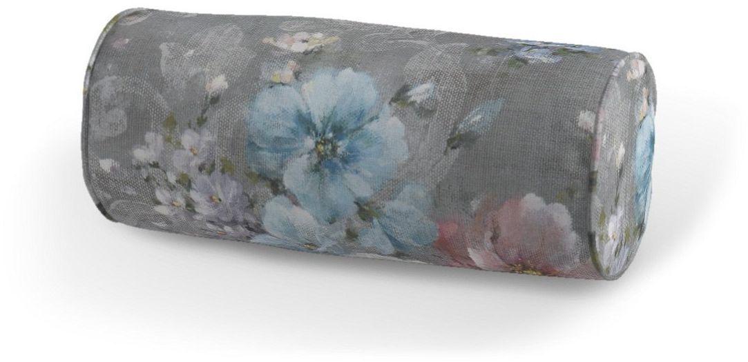 Poduszka wałek prosty, niebieskie i różowe kwiaty na szarym tle, Ø16  40 cm, Flowers
