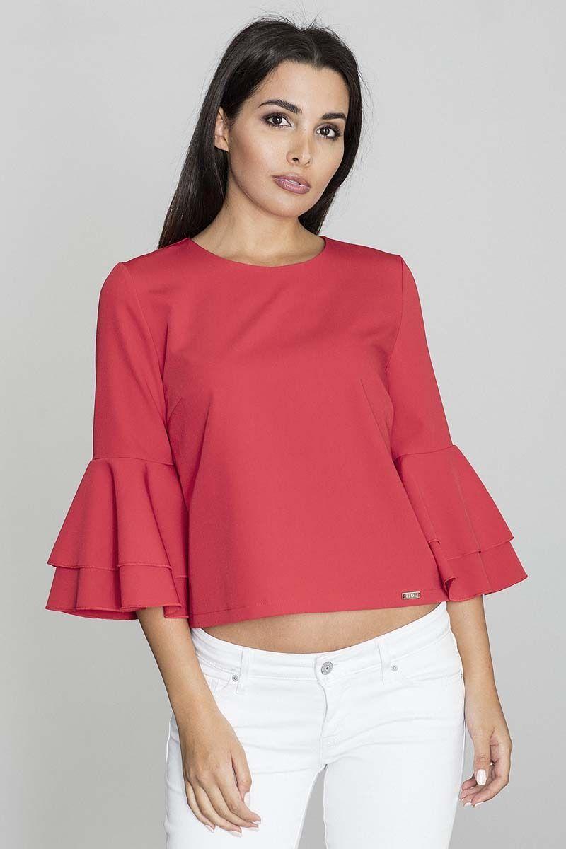 Czerwona krótka bluzka z rozkloszowanymi rękawami