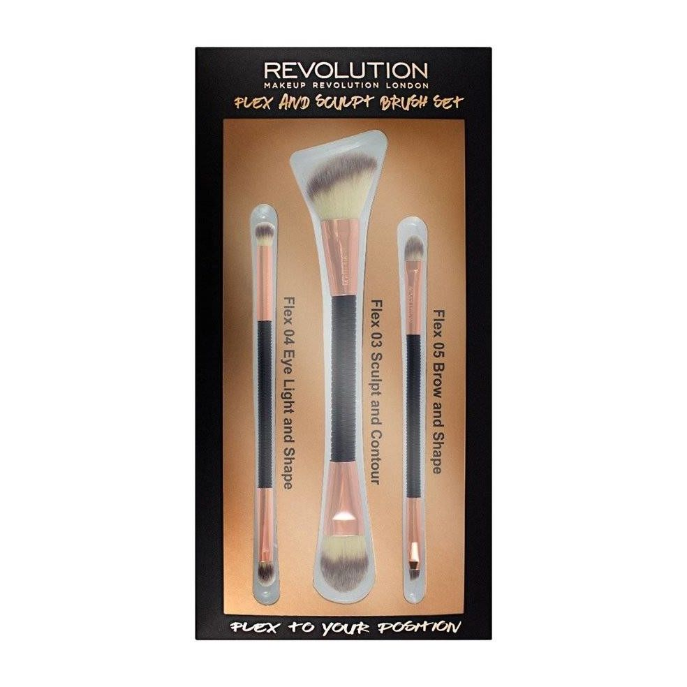 Makeup Revolution Brush Flex & Sculp Brush Set Zestaw pędzli do makijażu 1op.-3szt