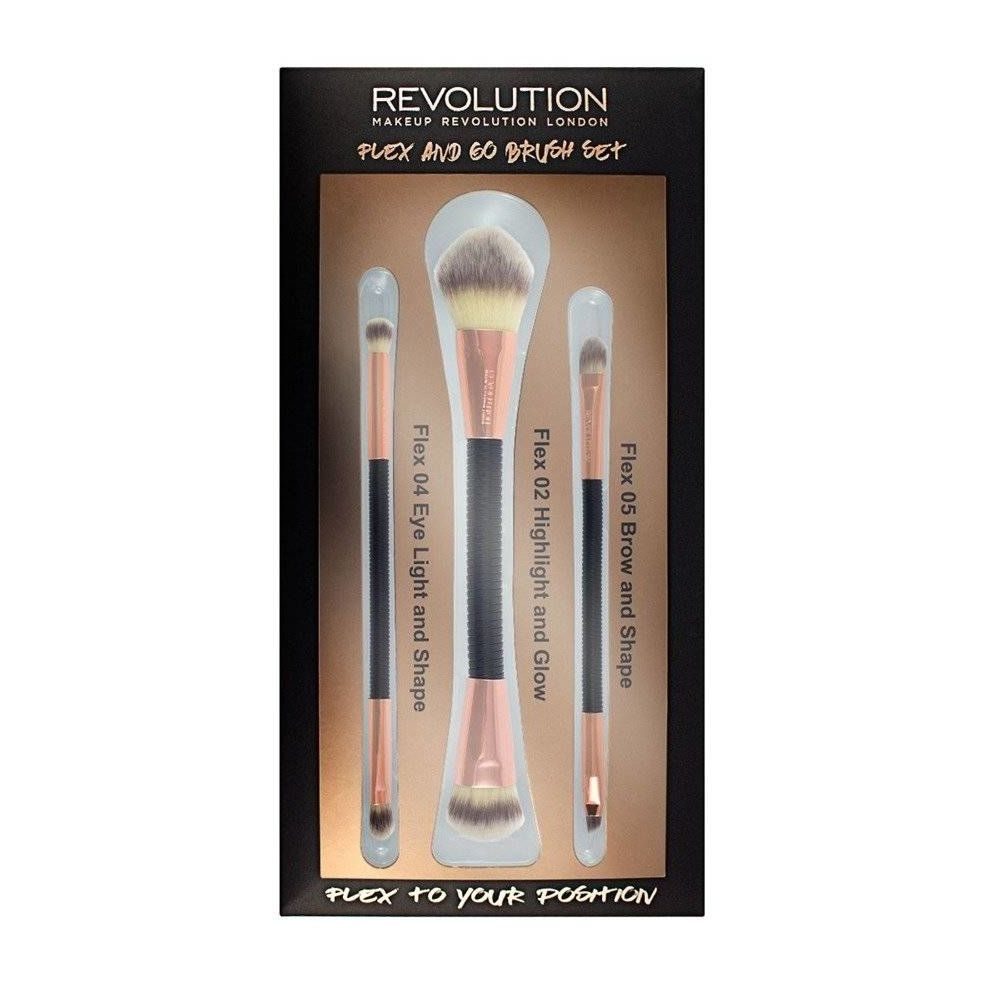Makeup Revolution Brush Flex & Go Brush Set Zestaw pędzli do makijażu 1op.-3szt
