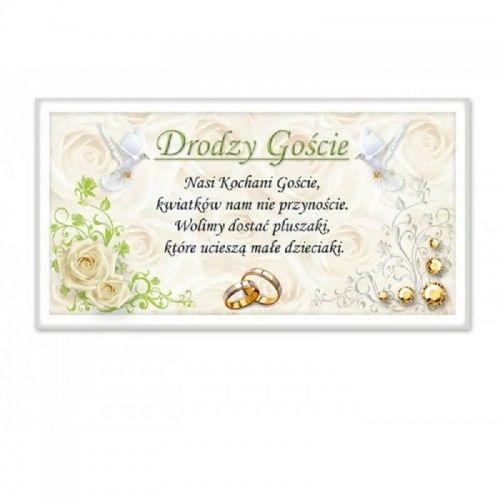Bilecik do zaproszenia na wesele - Pluszaki zamiast prezentów, Róże i Florystyczny Ornament 20 szt.
