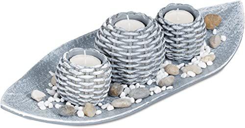 Relxdays świece dekoracyjne, misa na świece, dekoracja dekoracyjna, pleciony świecznik, nastrojowa dekoracja stołu, 38,5 cm długości, szare