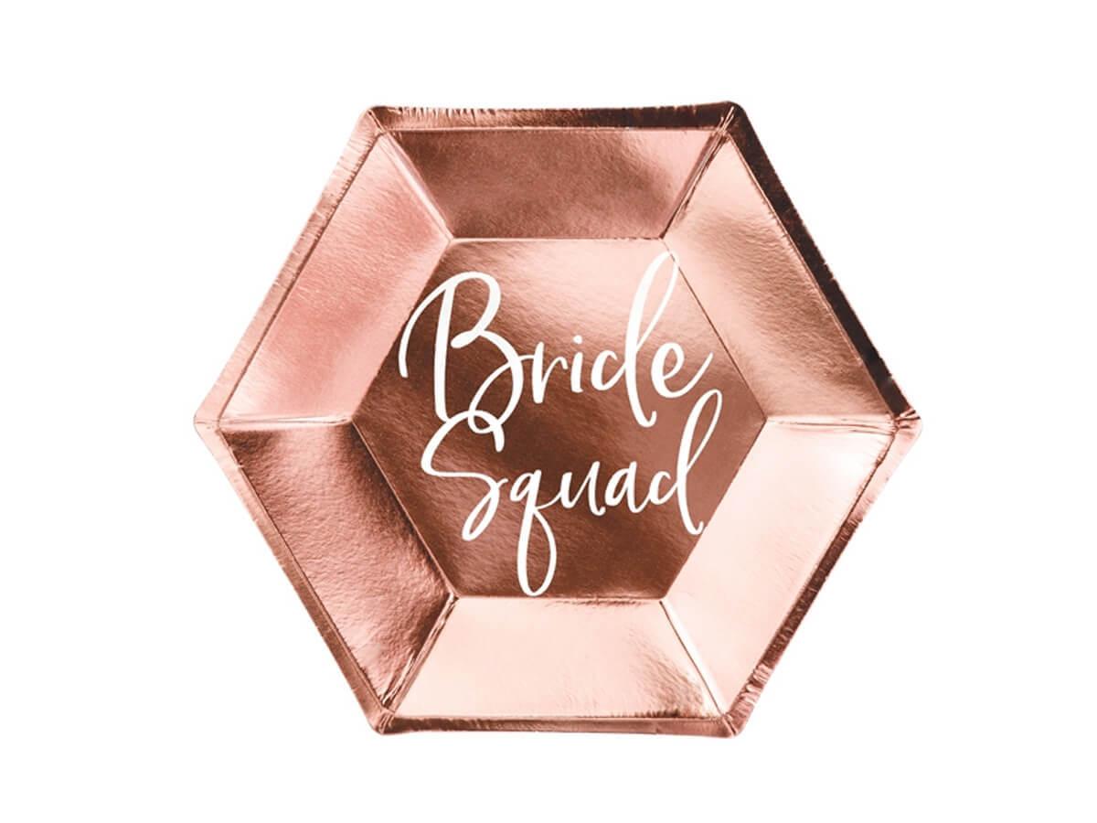 Talerzyki różowe złoto Bride Squad - 23 cm - 6 szt.