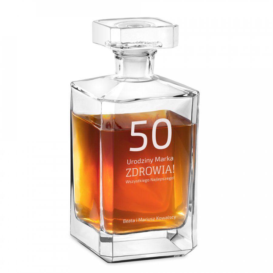 Karafka szklana burbon z grawerem dla niego na 50 urodziny