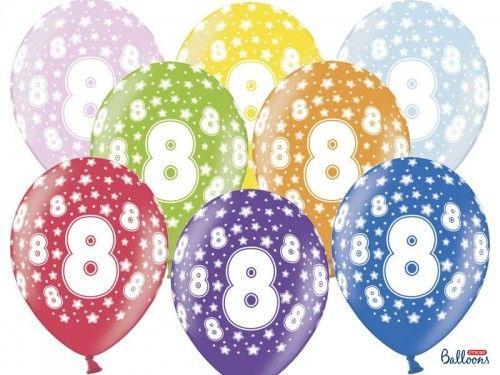 Balony na 8 urodziny z cyfrą 8 metaliczne, 6 szt.
