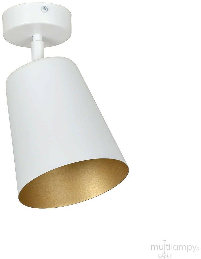 Emibig PRISM 1 WHITE / GOLD 407/1 plafon lampa sufitowa regulowany klosz metal biały złoty 1x60W E27 30cm