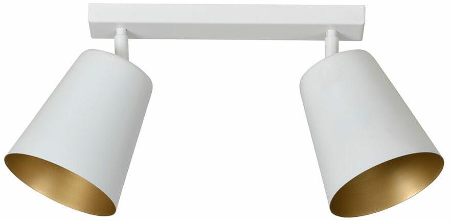 Emibig PRISM 2 WHITE / GOLD 407/2 plafon lampa sufitowa regulowane klosze biały złoty metalowy 2x60W E27 55cm