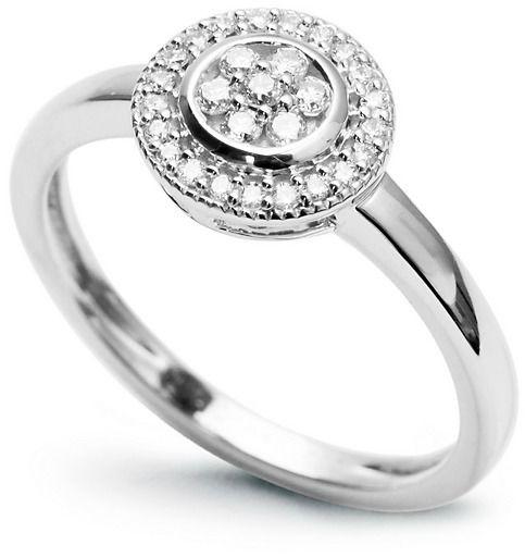 Staviori pierścionek. 28 diamentów, szlif brylantowy, masa 0,15 ct., barwa h, czystość si2. białe złoto 0,585. średnica korony ok. 12 mm.