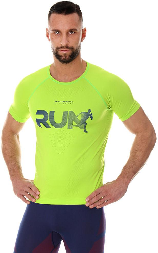 Męska koszulka do biegania Brubeck RUNNING AIR PRO SS13280 neon