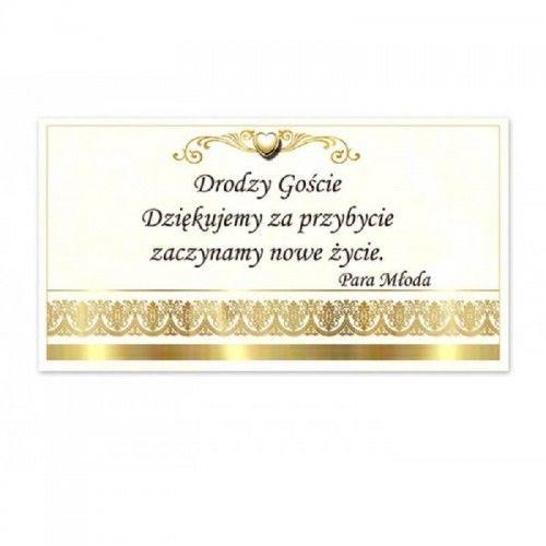 Bilecik z podziękowaniem dla Gości Weselnych, Złoty Szlaczek, Ornament 20 szt.