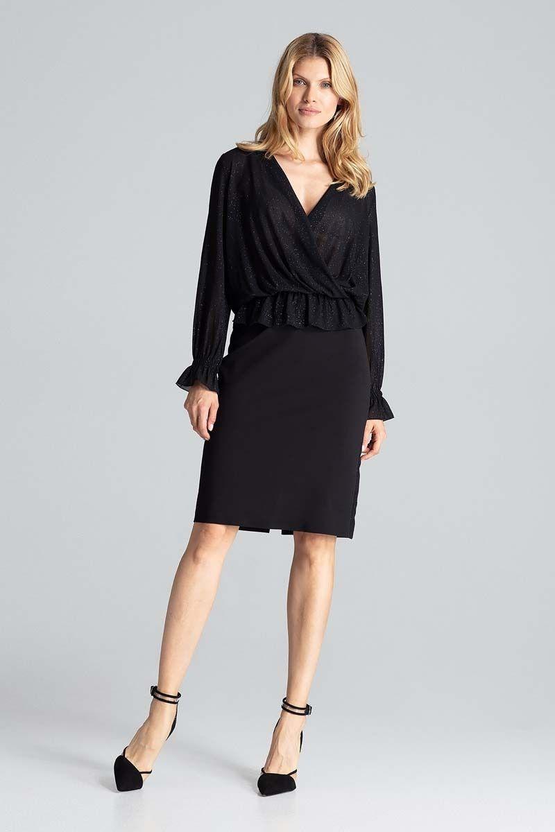 Czarna ołówkowa spódnica z brokatowym lampasem