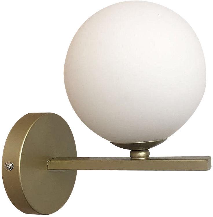 Candellux KAMA 21-73419 kinkiet lampa ścienna mosiądz klosz kula szklany 1X28W G9 12 cm