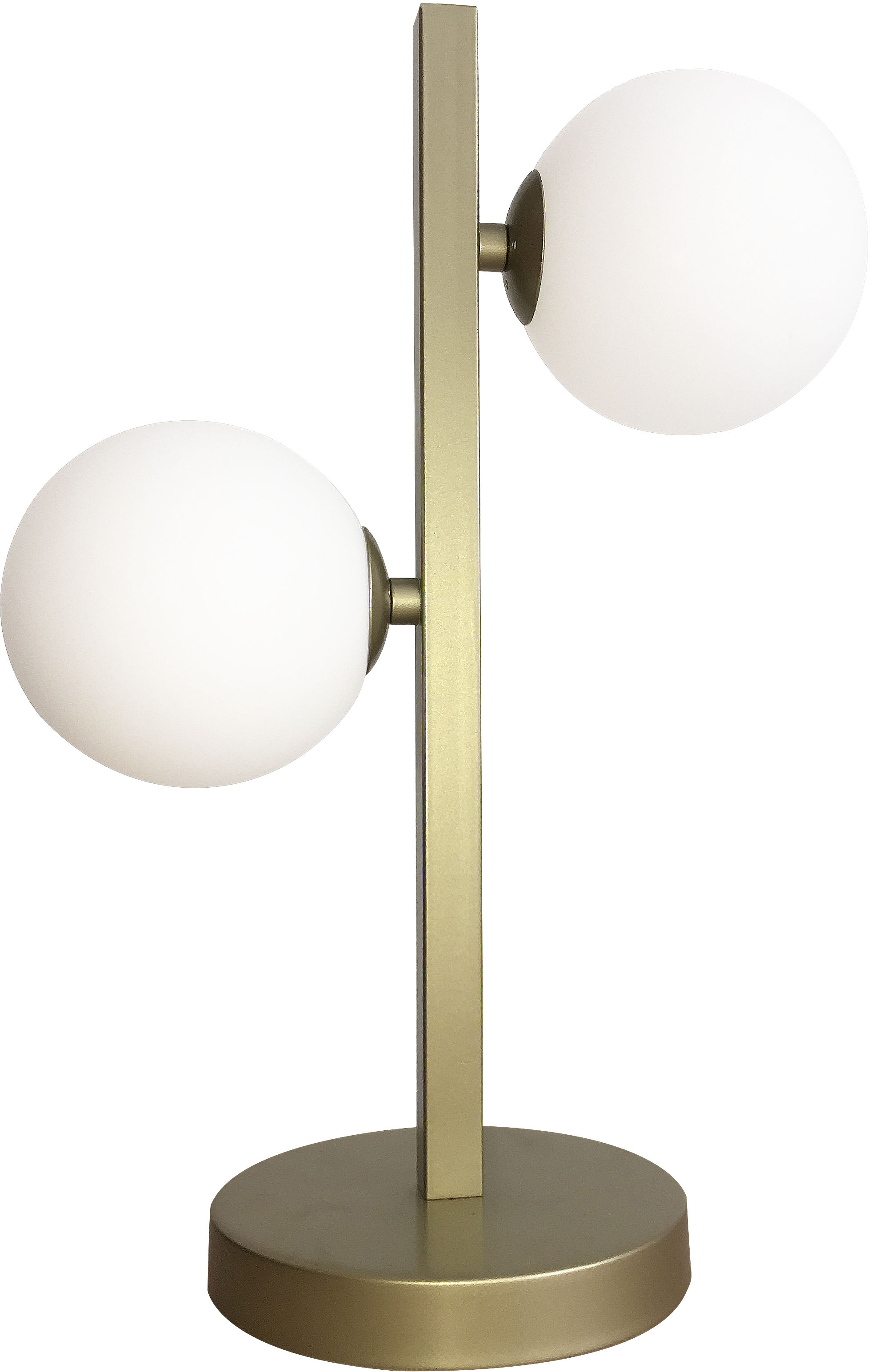 Candellux KAMA 42-73433 lampa stołowa mosiądz dwa białe klosze kula 2X28W G9 12 cm