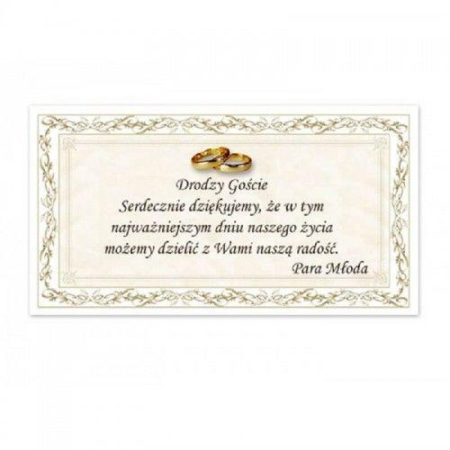 Bilecik z podziękowaniem dla Gości Weselnych, w Ornamentowej Ramce 20 szt.