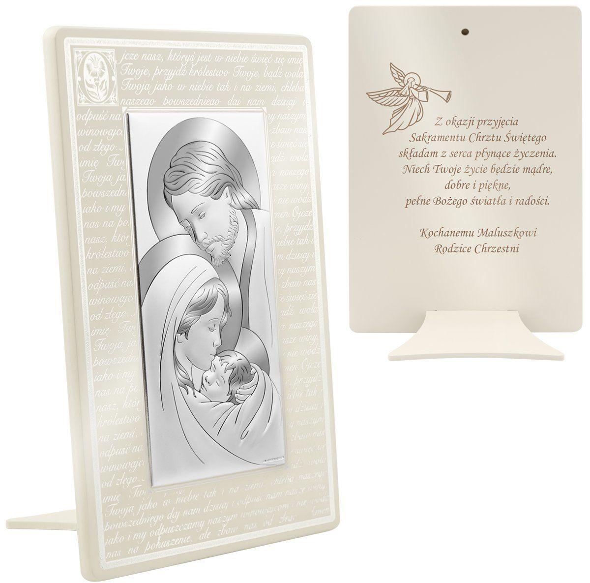 Srebrny obrazek na chrzest Święta Rodzina na beżowym drewnie z modlitwą Ojcze nasz 17x26 cm Grawer