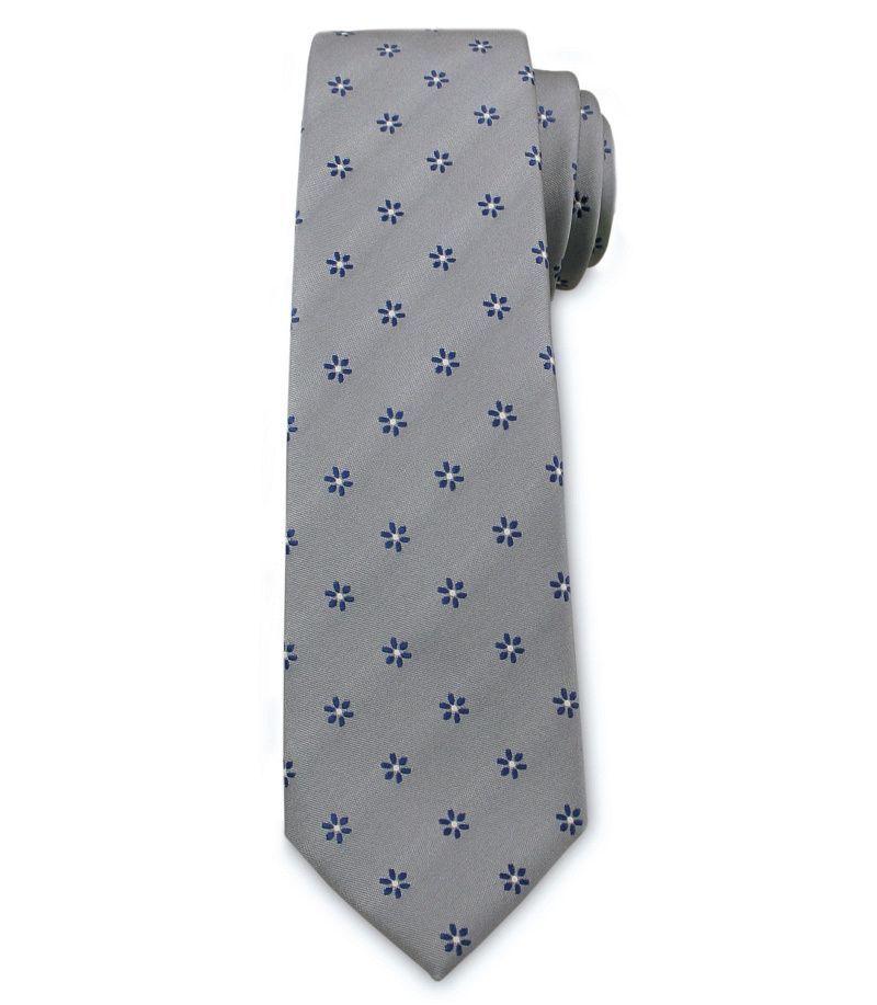 Męski Krawat Chattier - Stalowy, Drobne Kwiatki KRCH1032