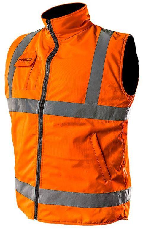 Bezrękawnik roboczy, dwustronny, jedna strona odblaskowa, pomarańczowa, rozmiar XXL/58 81-521-XXL