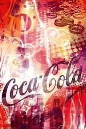 Coca Cola - kolaż, butelka, plakat z kapslami (91 x 61 cm)