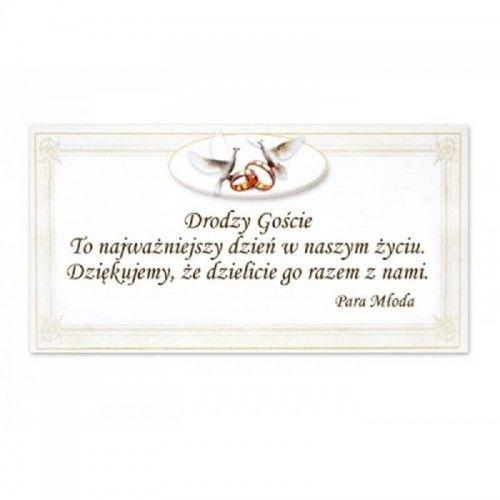 Bilecik z podziękowaniem dla Gości Weselnych, Gołębie i Obrączki 20 szt.