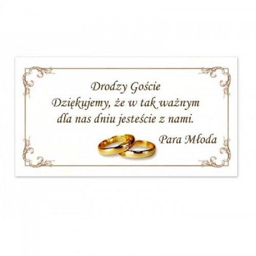 Bilecik z podziękowaniem dla Gości Weselnych, Ramka 20 szt.