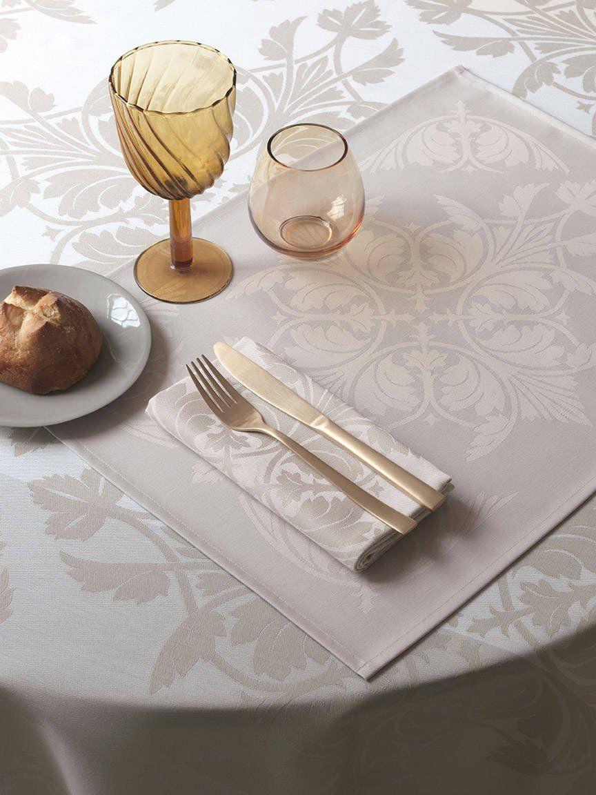 Podkładka żakardowa powlekana na stół Le Jacquard Fran ais Syracuse Enduit Beige