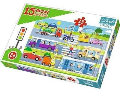 Puzzle dla dzieci Trefl 15 MAXI - Pojazdy miejskie, Vehicles in the city