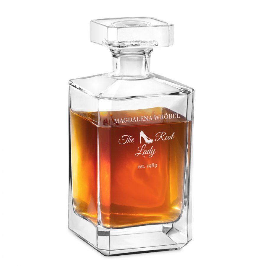 Karafka szklana burbon z grawerem dla niej damy singielki na urodziny