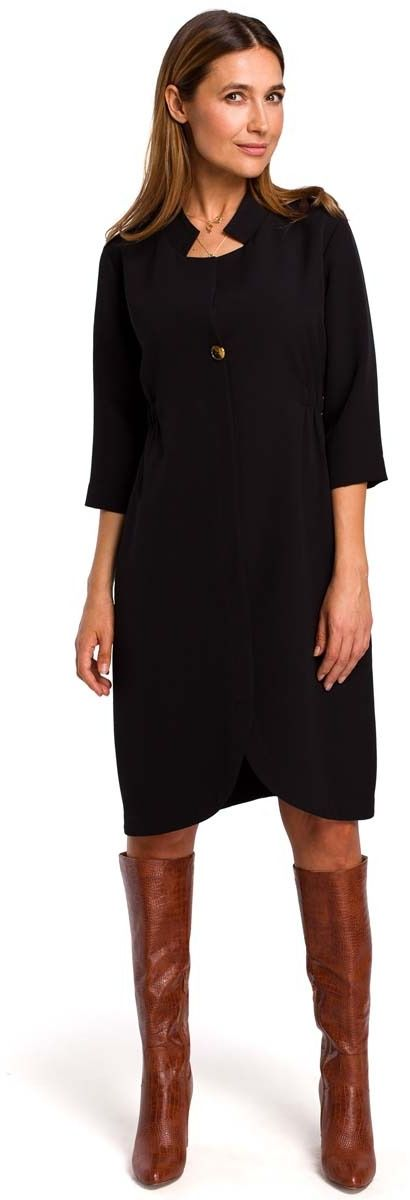 Czarna elegancka sukienka żakietowa z pagonami
