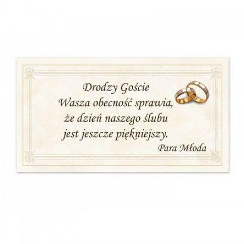 Bilecik z podziękowaniem dla Gości Weselnych, Ramka i Obrączki 20 szt.