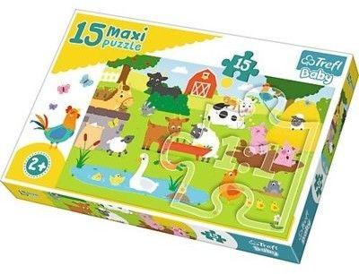 Puzzle dla dzieci Trefl 15 MAXI - Zwierzęta na wsi, Animals on the farm