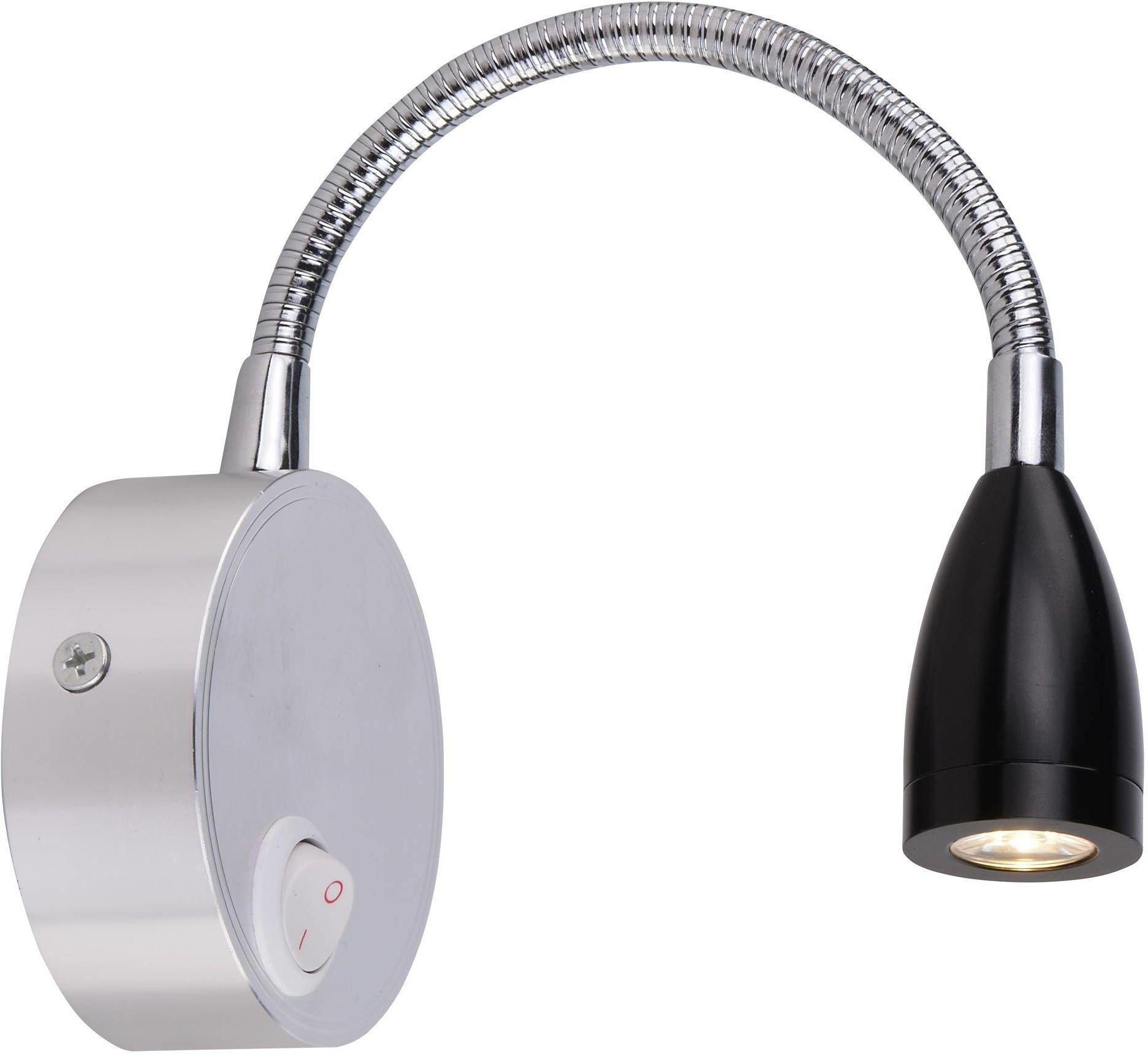 Candellux DINO 21-43122 kinkiet lampa ścienna chrom aluminium klosz czarny 3W LED