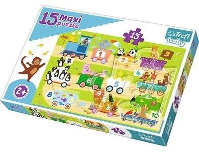 Puzzle dla dzieci Trefl 15 MAXI - Pociąg z cyferkami, Train with numbers