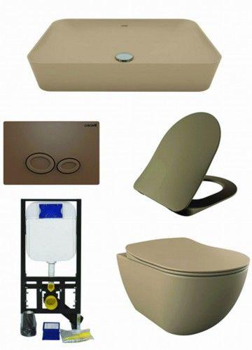 ZESTAW 5w1 CREAVIT, cappuccino ultra mat : Umywalka nablatowa + Miska WC podwieszana + deska soft-close + przycisk + Stelaż podtynkowy, Regulacja 180-230 mm, 3/6L, 300kg