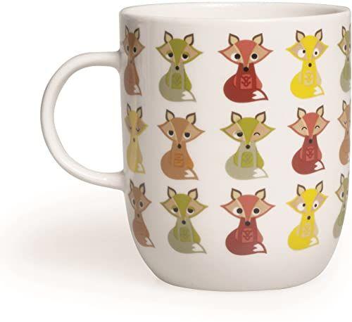 Excelsa Filiżanka ze zwierzętami, 400 ml, z porcelany, kolor: biały lis 8,9 x 8,9 x 10,6 cm biały/kolorowy