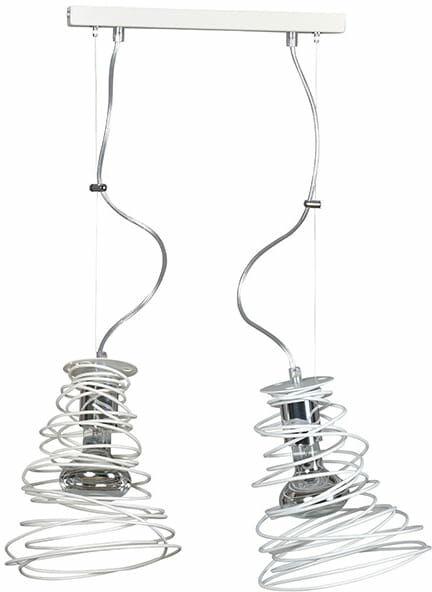 Emibig TWIST 2 WHITE 295/2 lampa wisząca zakręcona metalowa modern design biała 2x60W E27 40cm