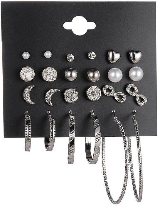 Kolczyki zestaw 12 par srebrne koła kulki serca