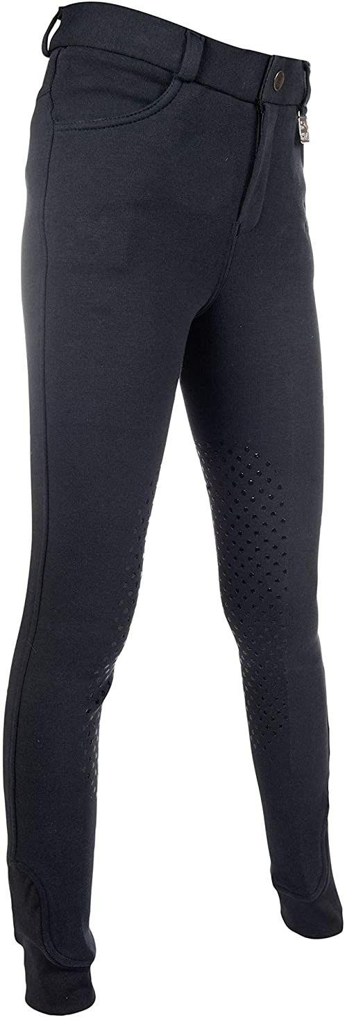 HKM Unisex spodnie jeździeckie -Kids Slimline Easy - silikonowe obszycie kolan 6900 beżowy 6900 Dunkelblau 128