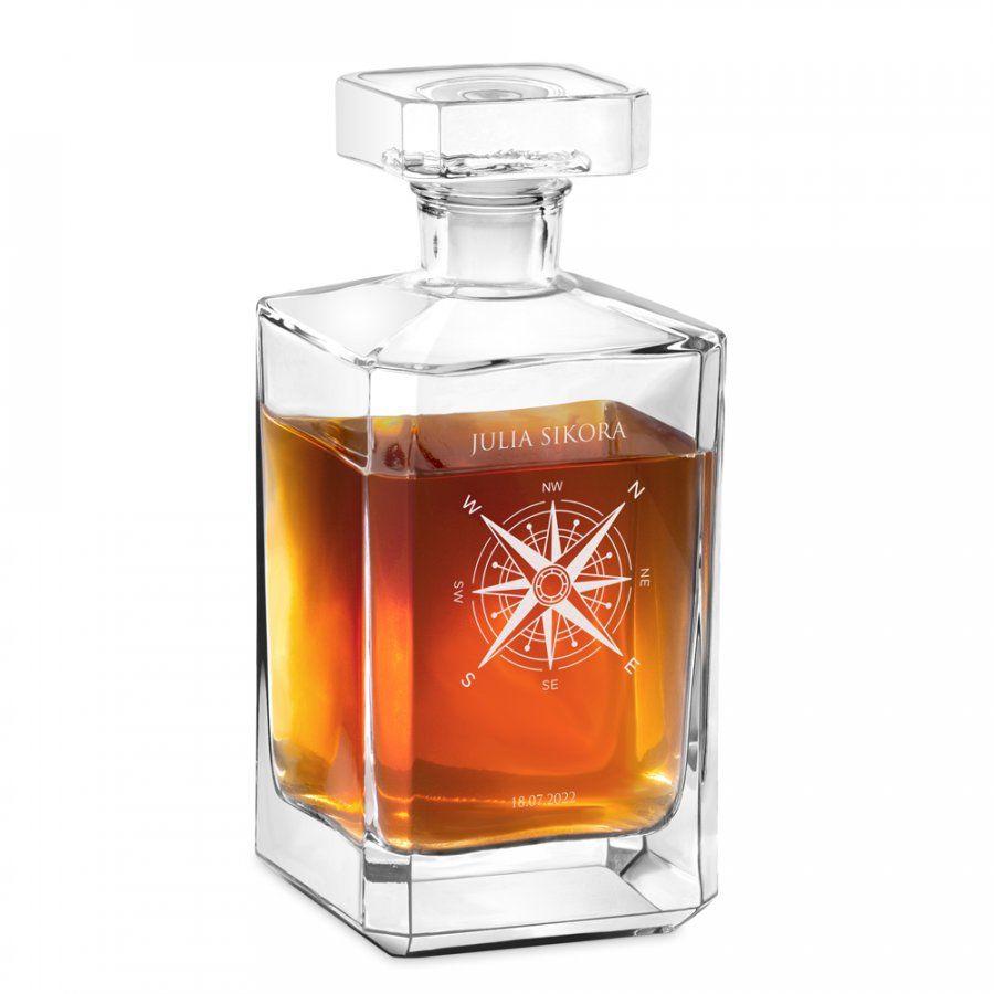 Karafka szklana burbon z grawerem dla niej podróżnik miłośnika gór że