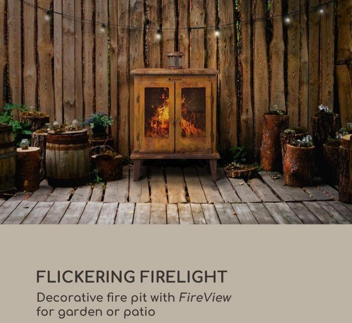 Blumfeldt Flame Locker, kominek ogrodowy w stylu Vintage, 58 x 30 cm, stal, imitacja rdzy