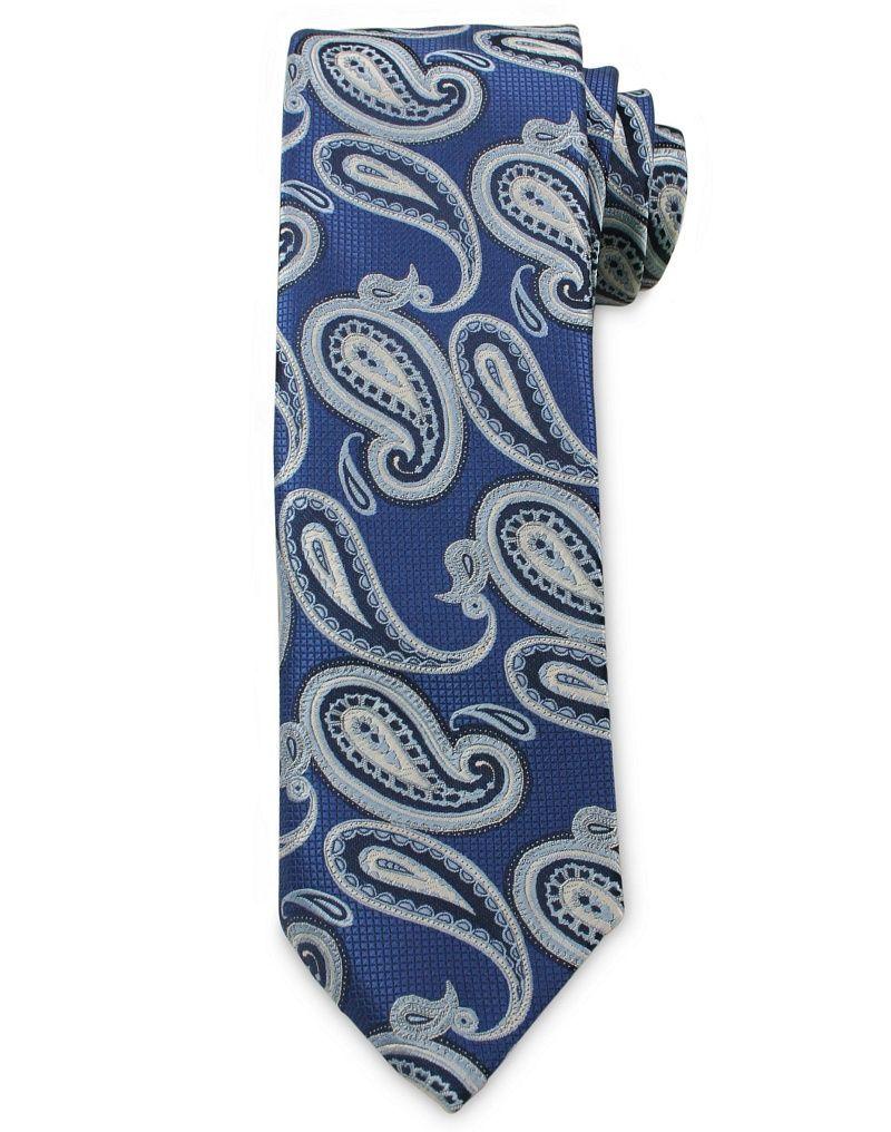 Męski Krawat Chattier - Odcienie Niebieskiego, Wzór Paisley KRCH1030