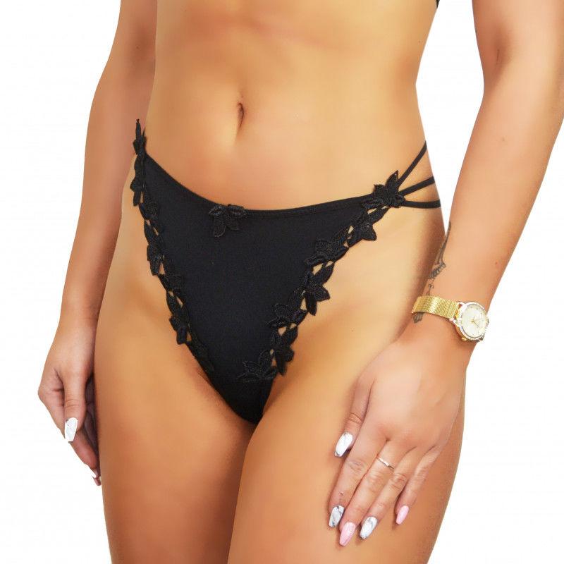 Stringi damskie hafty czarne seksowne Beauty Senses BS00768