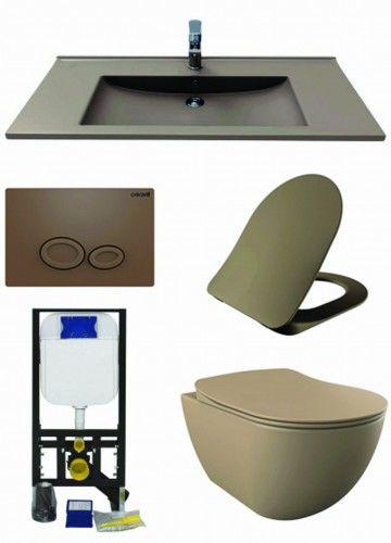 Beżowy zestaw ceramiki Miska WC podwieszana 352x340x510 mm z deską soft+Umywalka 100x45 cm Creavit+ Stelaż podtynkowy, Regulacja 180-230 mm, 3/6L, 300kg +przycisk